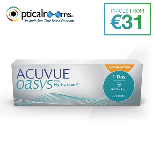 #Acuvue Oasys Astigmatism 1-Day  Acuvue Oasys 1-day for astigmatism contact lenses provide exceptional performance and helps to make the feeling of tired eyes a thing of the past.  These new daily disposable contact lenses are available in convenient 30-day packs.  They include highest level of UV protection available in a contact lens.