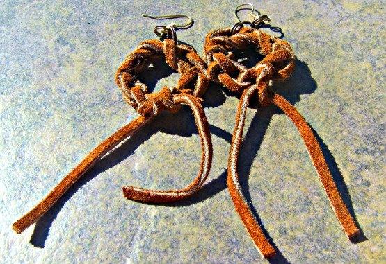 Brown Leather Earrings hippie earrings Bohemian by Lusmysticjewels, $7.00