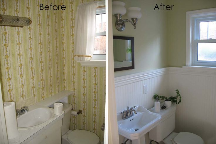 Complete half bath remodel guest green walls half for How long does a bathroom remodel take