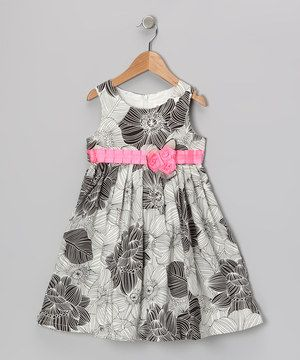 Look at this #zulilyfind! Gray & Pink Floral Dress - Toddler & Girls by Bonny Billy #zulilyfinds
