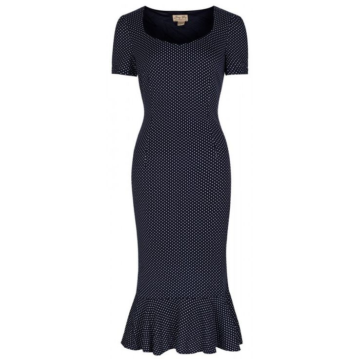 Retro šaty Lindy Bop Arabella Navy Polka Šaty ve stylu 50. let. Krásné šaty vhodné pro letní dny, na svatby, zahradní párty, na dovolenou či běžné nošení, všude tam je užijete. Velmi příjemný a lehký materiál (95% polyester, 5% elastan), který skvěle padne Vaší postavě a budete se v nich cítit dokonale žensky. Tmavě modrý podklad s drobnými bílými puntíky, krátký rukávek, krytý zip v bočním švu, podšívka, spodní lem mírně nabraný pro snadnější pohyb.