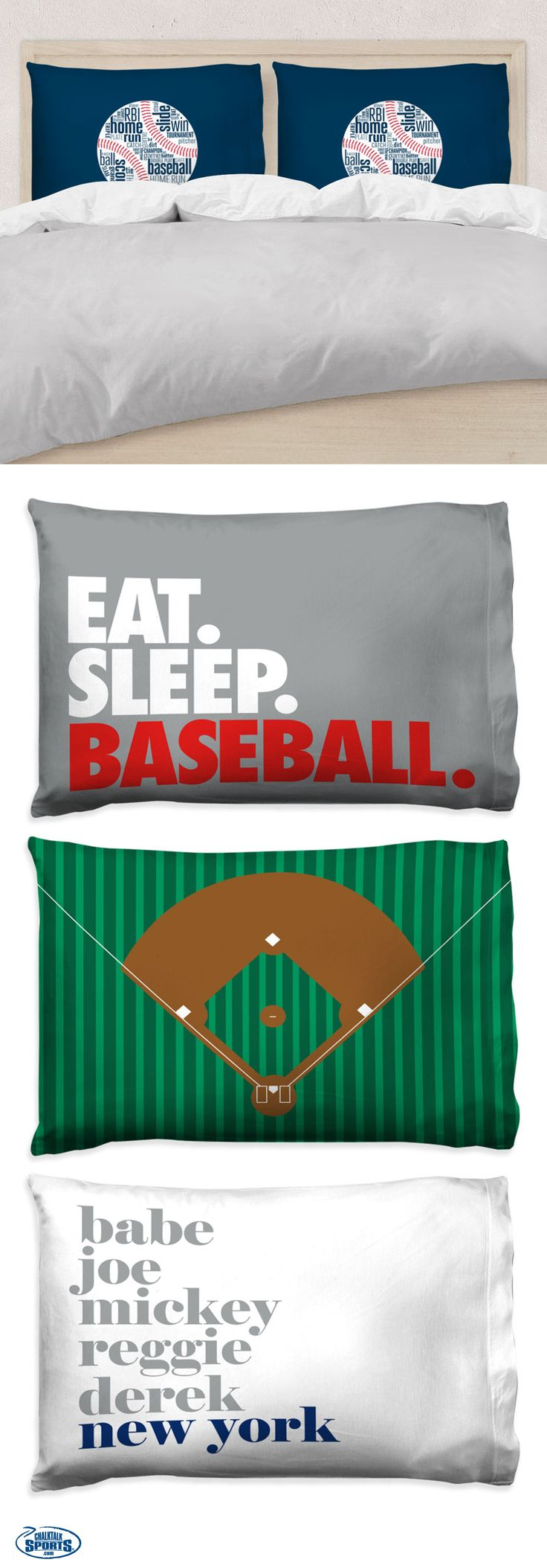 Our new baseball pillow cases are the perfect way to add a touch of baseball style and spirit to their room! They'll love our custom designs and personalized options!
