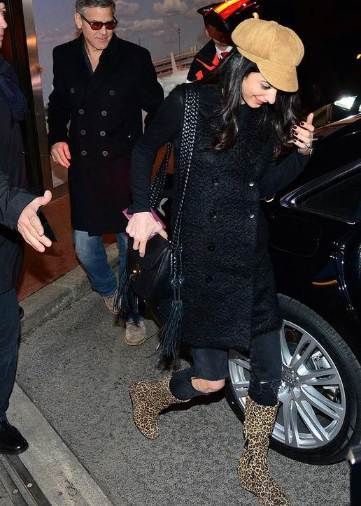 How cool was Amal Clooney's combination of black ripped skinny jeans and leopard-print boots? Click to see more recent outfits we loved from Kylie Jenner, Blake Lively, and Jessica Alba.