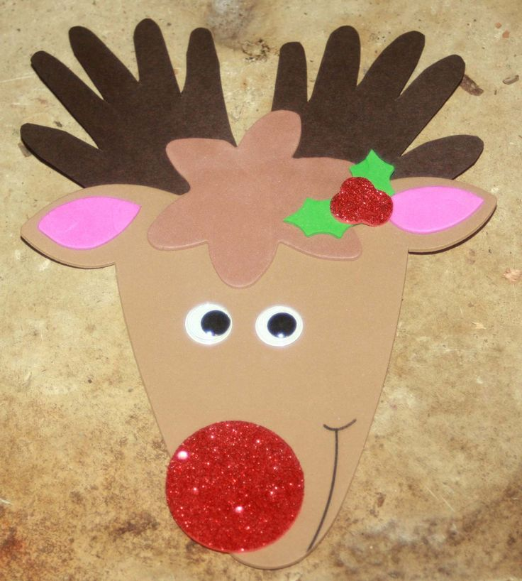 christmas crafts for kids | Rudolf with his stolen-handprint antlers.