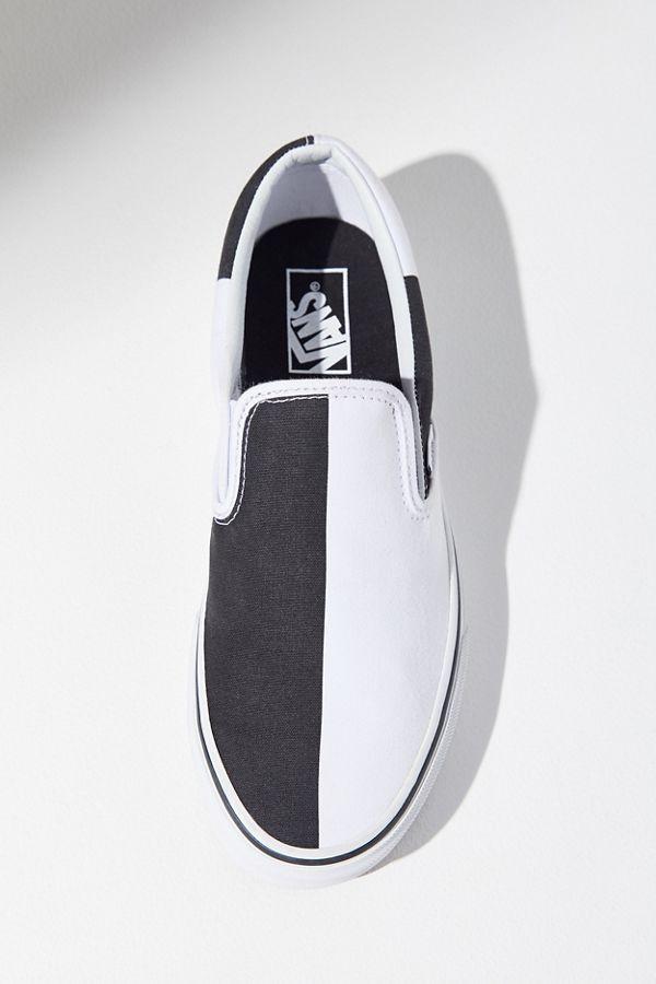 White slip on vans, Black slip on sneakers