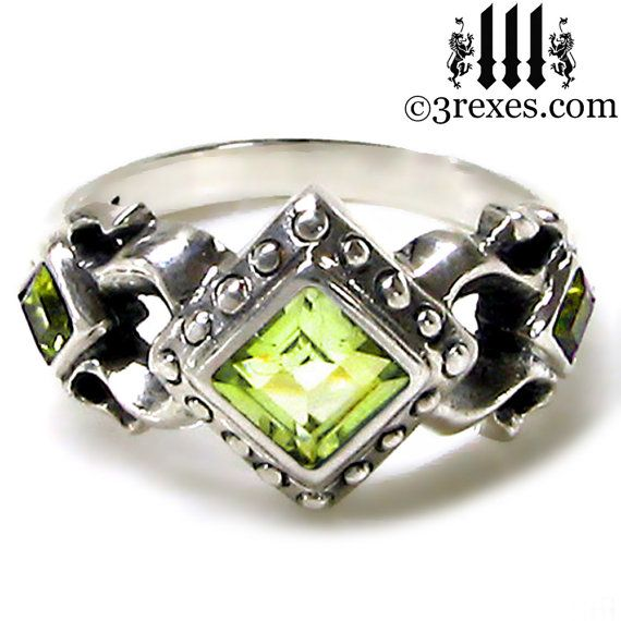 Royal Princess Wedding Ring Green Peridot Stone by 3RexesJewelry Holy crap this is cool.
