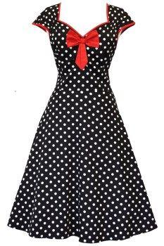 Black Polka Dot Isabella Dress : Lady Vintage