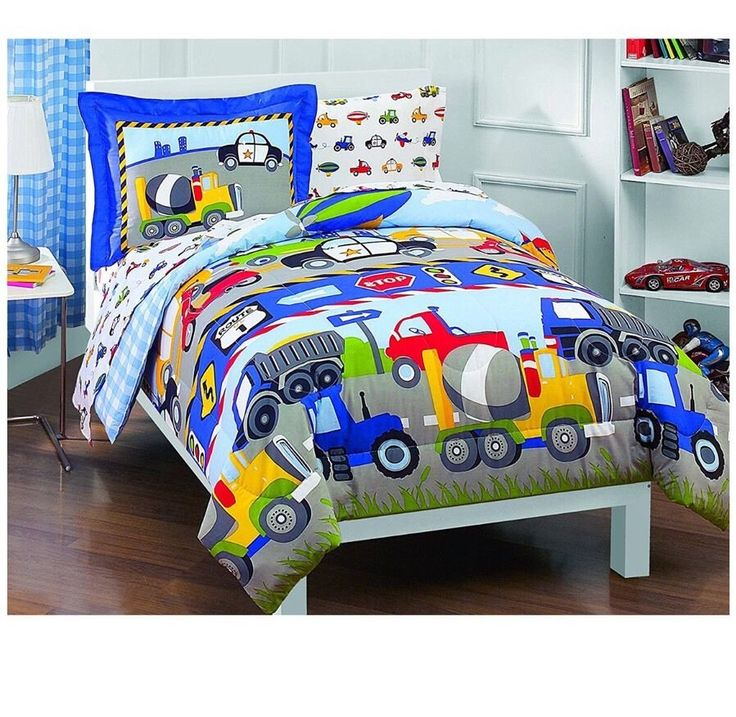 Toddler Comforter Sheet Set Dream Factory Trucks Tractors Cars Boys 5-Piece  | eBay