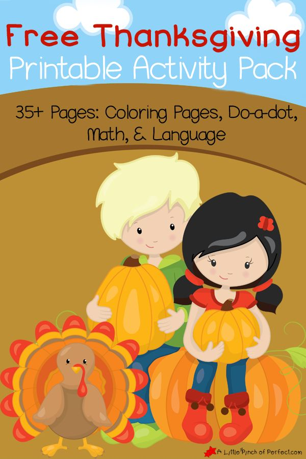 Free Thanksgiving Printable Activity Pack Including Coloring Pages, Do a Dot, Math and Language -