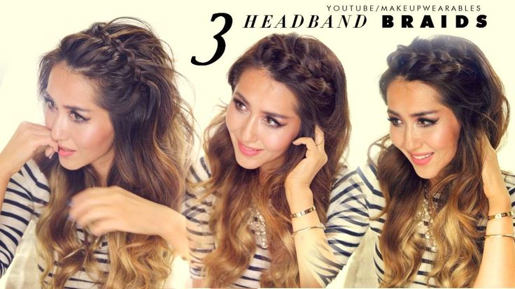 Hair tutorial video. How to do 3 quick + easy headband braid hairstyles for short, medium or long hair. Cute half-up half-down updos.
