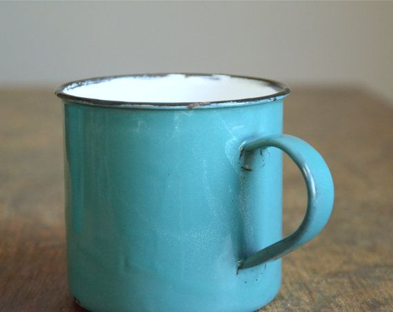 Vintage Turquoise Enamelware Camping Mugs .. Set by TheFancyLamb