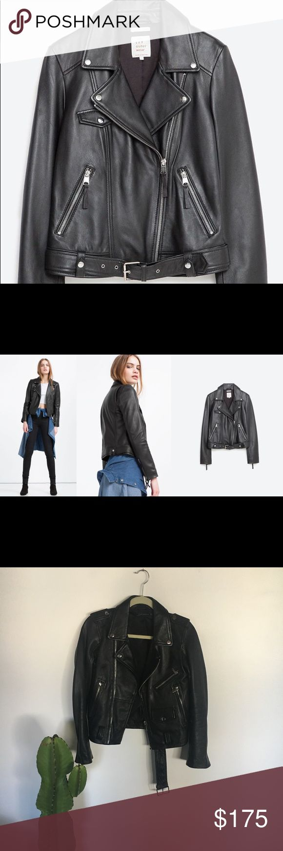 Zara Classic Lambskin Leather Moto Jacket Brand New. Zara Classic Lambskin Leather Moto Jacket- Great Condition! I'm usually a small but this runs a little snug. Perfect for fall and winter! (Belt is missing so included major discount) Zara Jackets & Coats