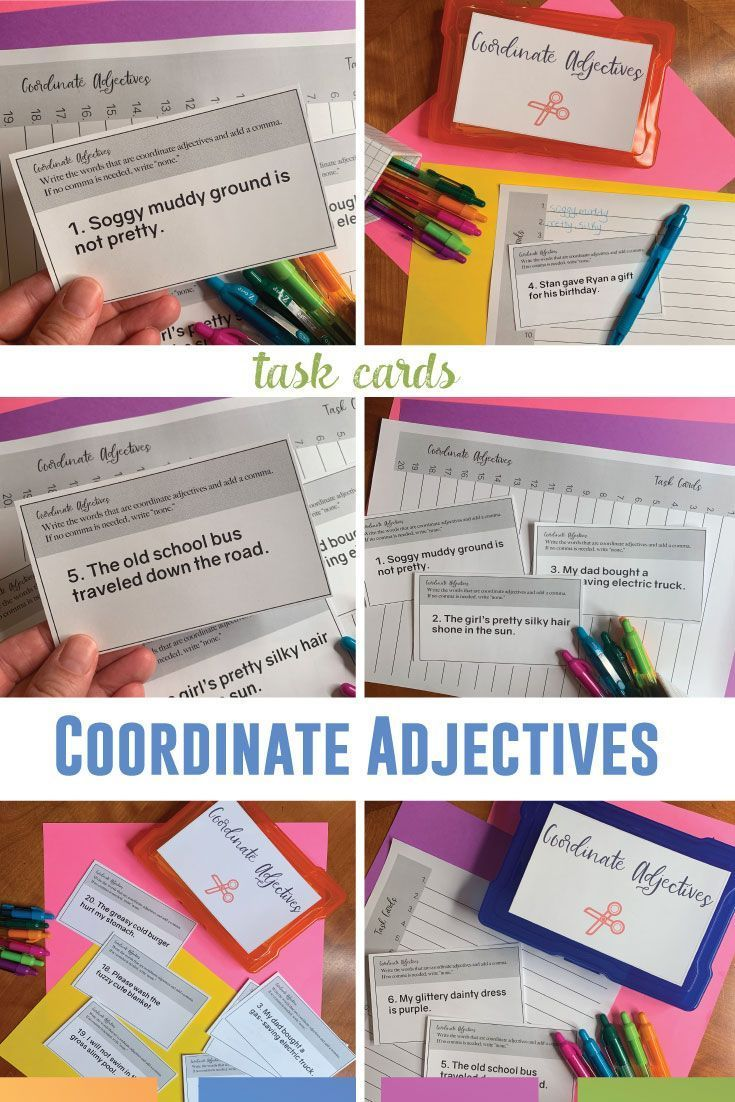 Coordinate Adjectives Task Cards And Worksheet With Images