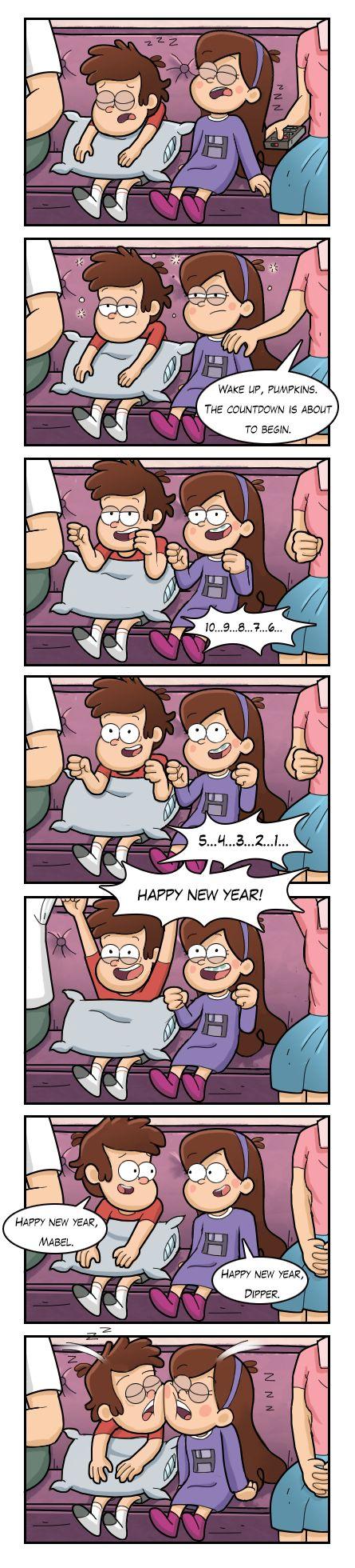 despertar, calabazas. la cuenta regresiva esta por comenzar 10...9...8...7...6...5...4...3...2...1 ¡FELIZ AÑO NUEVO! Dipper:feliz año nuevo, Mabel Mabel:feliz año nuevo, Dipper