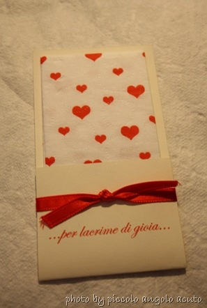fazzoletti - heart-themed hankies to hand out to the weepy before the ceremony