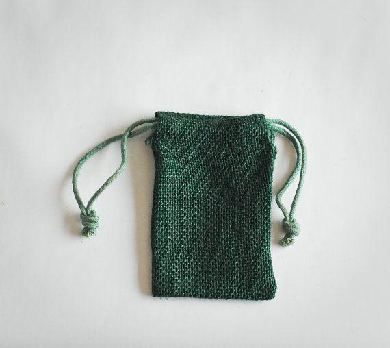 24 Burlap Bags 3x5, Jute, Forest Green Natural Drawstring Sack, Rustic Gift Bag Wedding Favor #BurlapBags #MuslimBags #GiftBag #WeddingFavor #RusticBag