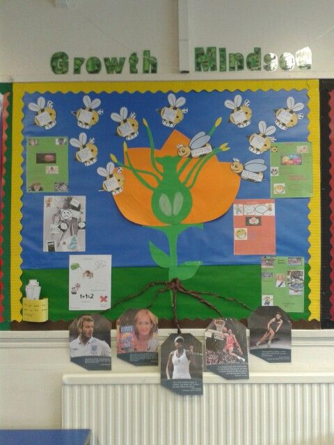 #Growth #mindset #display  showing #inspirational quotations the children wrote on to bumble bees and inspirational quotations from famous people at the roots. Children also made their own fixed and growth mindset posters that I added. The display is cross curricular with plant part labels in a pocket for them to stick on (bottom left).