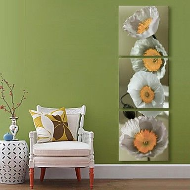 E-HOME® Stretched Canvas Art Flower Decoration Painting Set of 3 - USD $ 79.99