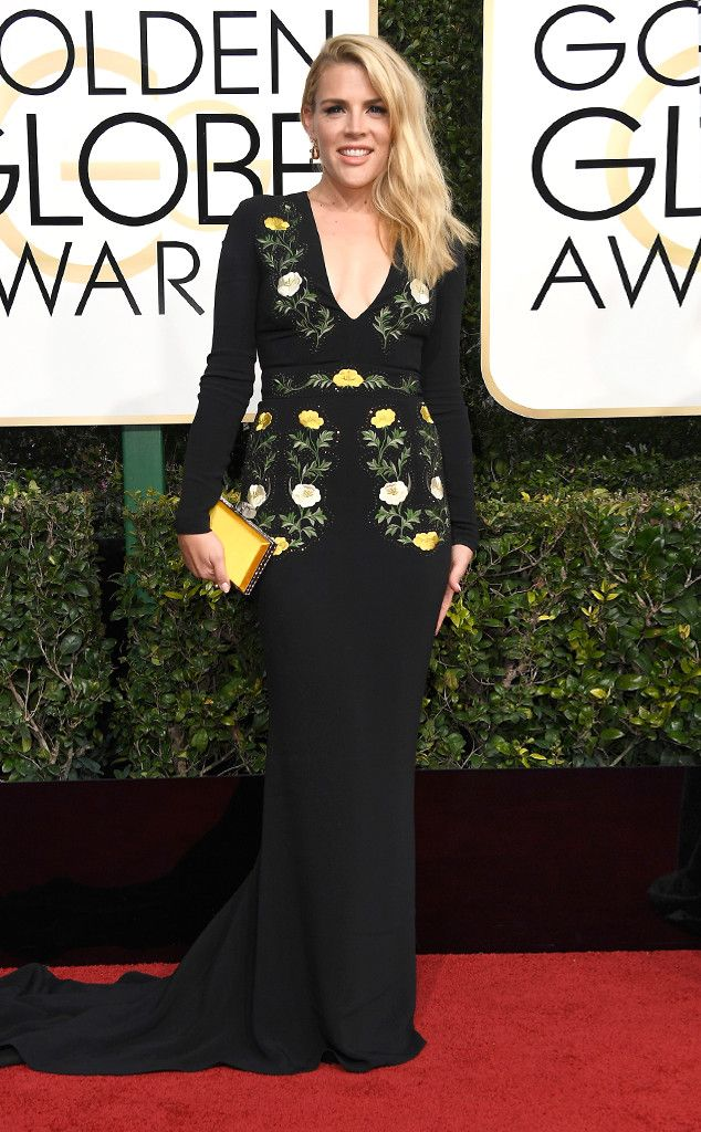 Busy Philipps from 2017 Golden Globes Red Carpet Arrivals  In Stella McCartney