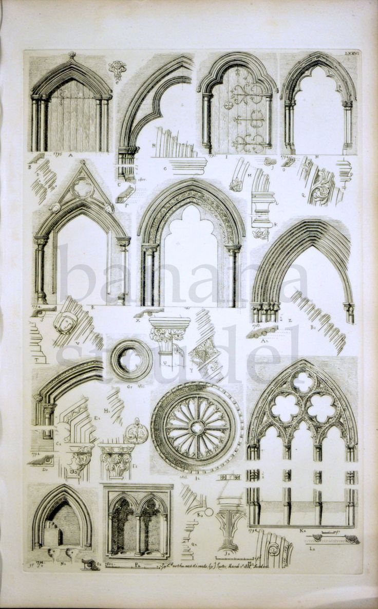 1845 Rare Large English Antique Engraving of doorways of an old house, cornices, circular windows, and mullions and architrave.