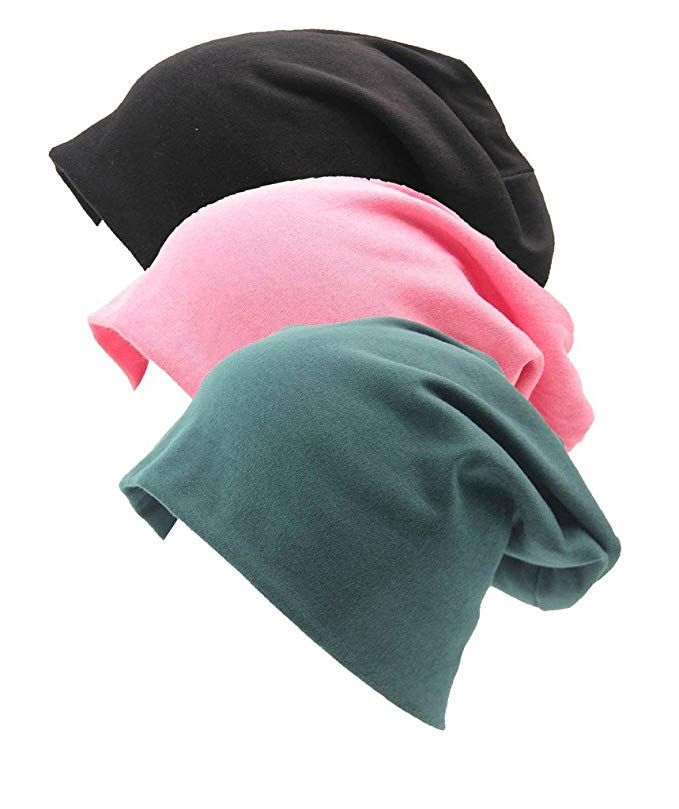 efda732429e Firsthats Unisex 3 Pack Indoors Soft Comfy Cotton Beanie For Hairloss
