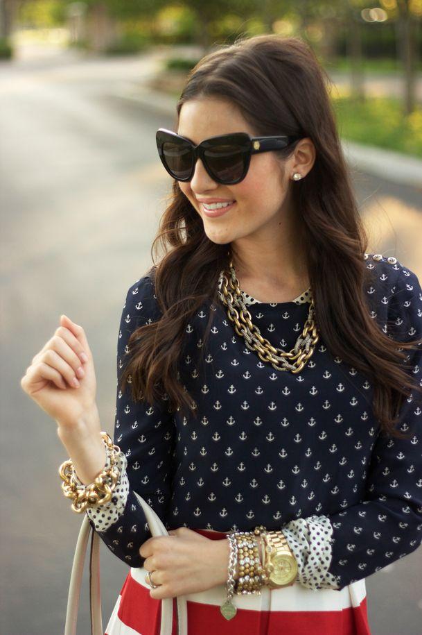 Such a cute nautica look. #anchor #polkadots #stripes #nautica #outfits #clothes