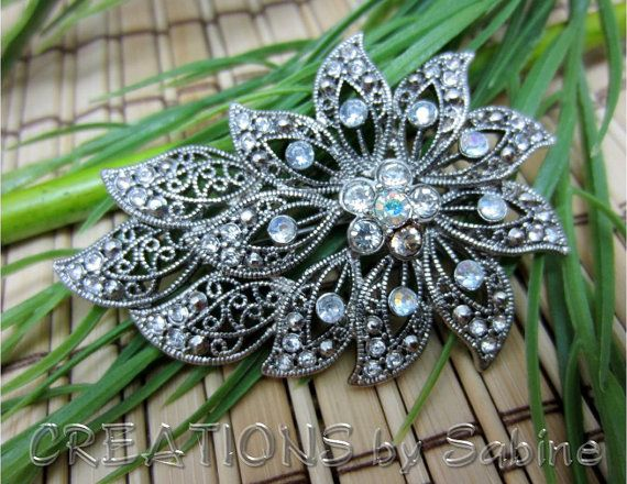 Rhinestone Flower Brooch Silver Tone Metal Floral Stunning Flowing Sparkly Elegant LC Jewelry Jewellery Vintage FREE SHIPPING by CREATIONSbySabine