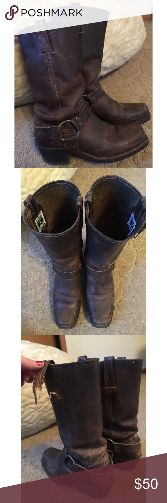 FRYE riding boot😻square toe Brown FRYE riding boot. Typical wear as you can see except left pull on strap on the left boot needs to be stitched back on. Take to any shoe repair place. Frye Shoes Heeled Boots