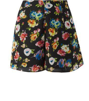 Belle Heart Black Floral Print Chiffon Shorts