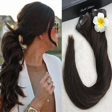 8 Pcs Dark Brown Seamless Clip in Hair Extensions   Full Shine