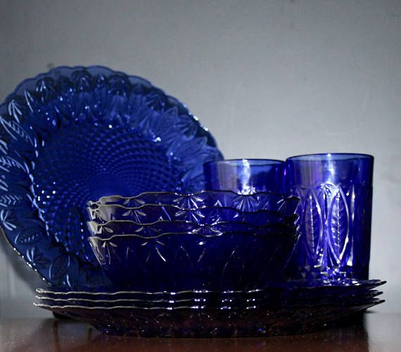 French Blue Glass Plates Vintage Cobalt Glass Dishes Mid Blue