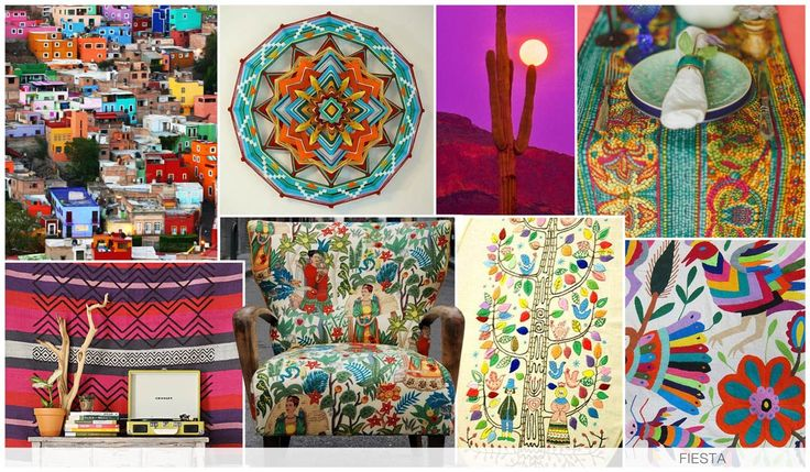 FIESTA This graphic story brings great color to the season, as we are inspired by Mexican tapestries, powerful sunsets, and city photoreals, as we try to immerse ourselves into that spicy, exciting life. There is also a folkloric sensibility to this trend.