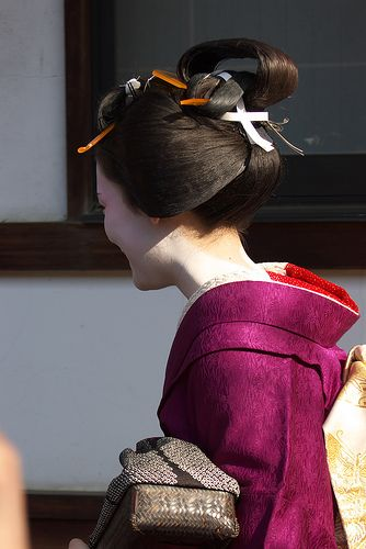 Maiko Naosome wearing osafune hairtsyle during setsubun.