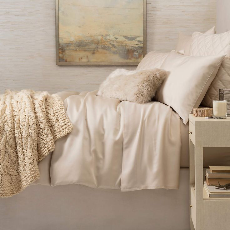 Silken Solid Sand Duvet Cover | Pine Cone Hill