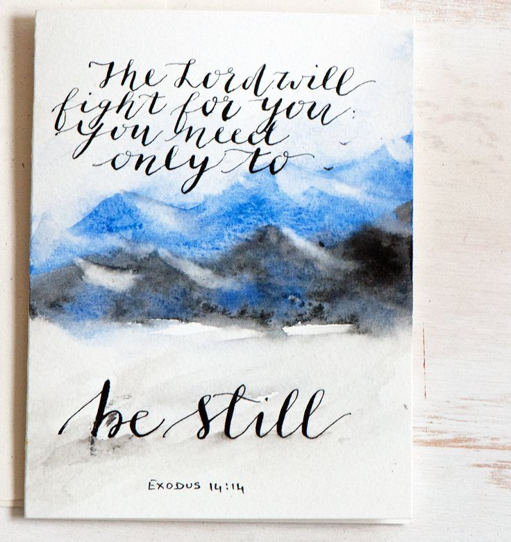 Be Still, original Card, Watercolor landscape, HandLettered card, Calligraphy, Easter, Blue,Bible verse, Scripture, Bible quote, Bible psalm by sanketi on Etsy