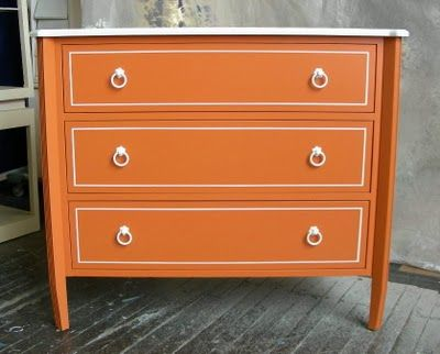 Orange! Love the white to and accents #orange #painted furniture