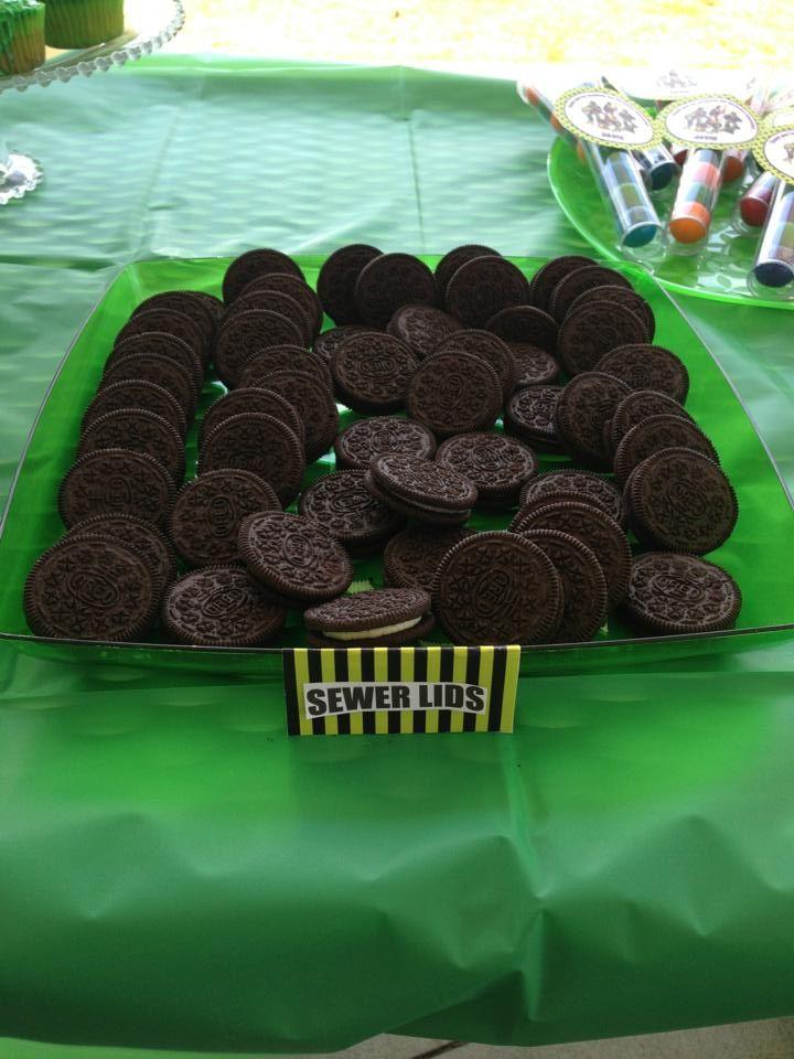 Ninja Turtle Party Food Idea: Oreos = Sewer Lids   Ninja ...