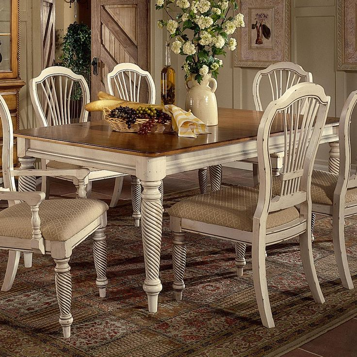 Wilshire Rectangle Two Tone Double Leaf Dining Table By Hillsdale