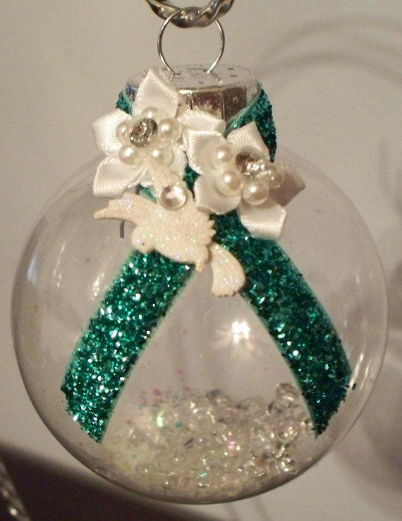 Liver Cancer / Hepatitis B Awareness Christmas Ornament - Jade Ribbon on Etsy, $8.99