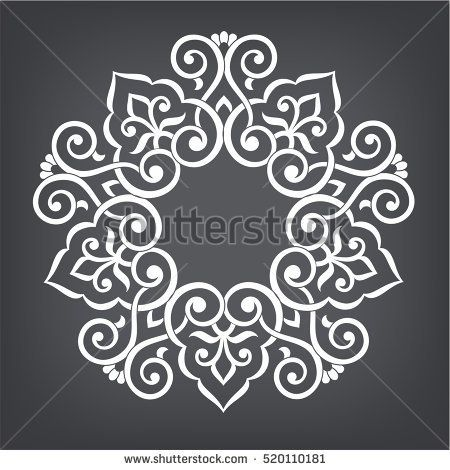 Circular abstract floral pattern. Mandala. Round vector ornament with intertwined branches, flowers  and curls. Arabesque.