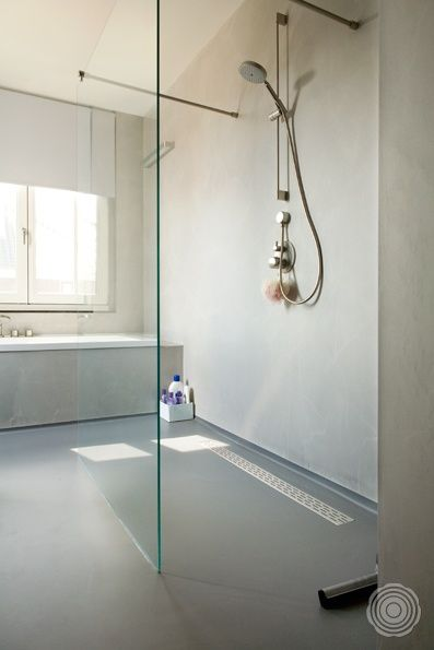 Fliesen Dusche Wasserdicht : Polished Concrete Shower Walls