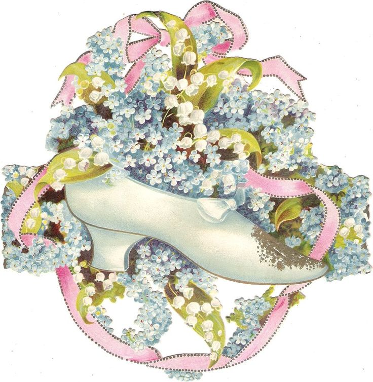 Oblaten Glanzbild scrap die cut chromo Schuh XL 20cm shoe forgetmenot