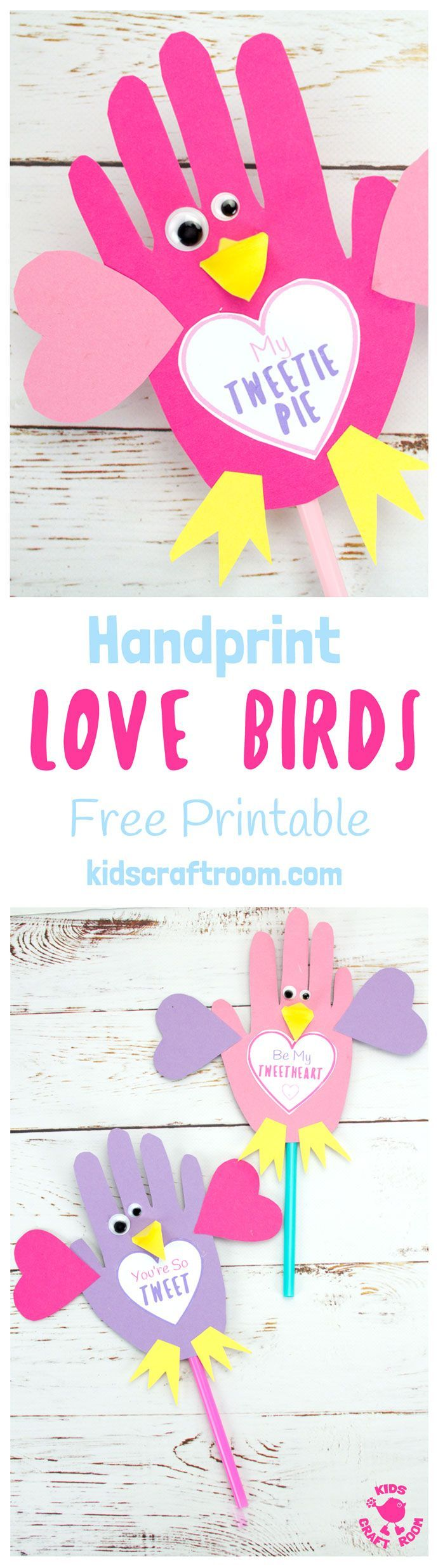 Grab your free printable template and make these adorable Handprint Love Birds.