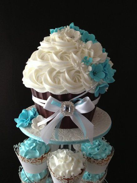 tiffany blue baptism cupcake cake- Google Search