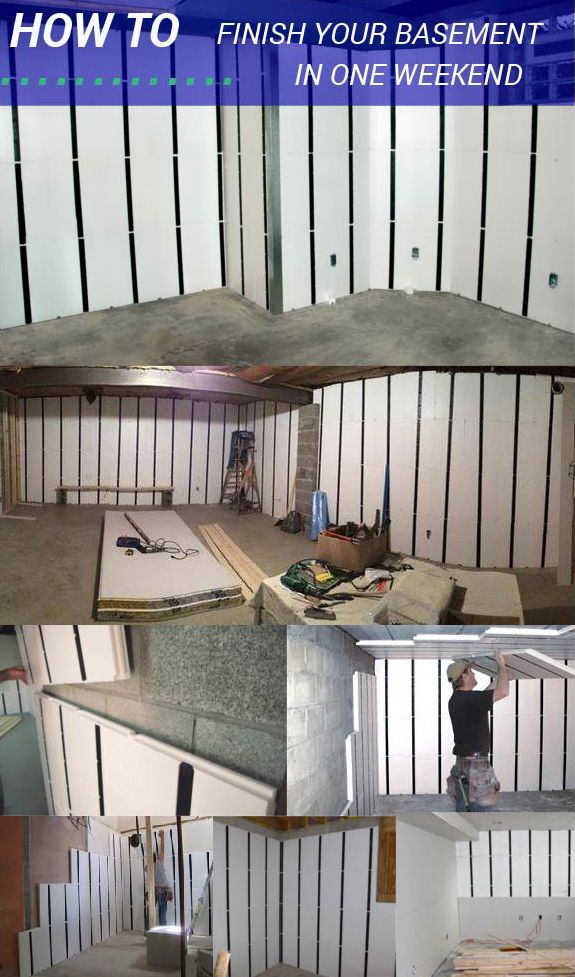 How to Finish Your Basement in One Weekend: InSoFast DIY insulation panels are as easy as STICK, STACK, DONE. Why waste time and money with outdated alternatives? http://insofast.com/ux-panels/