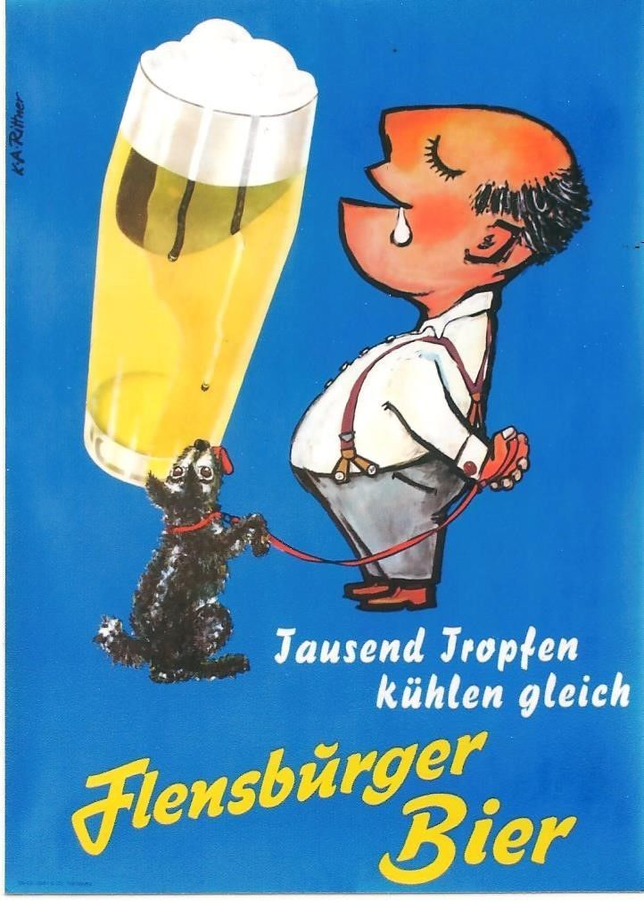 Original vintage poster FLENSBURG BEER DRINKER & DOG c.1960 | eBay