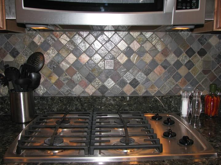 Slate Tile Backsplash Kitchen Custom Backsplash Florida Multi Colored Slate Metallic Deco Tile