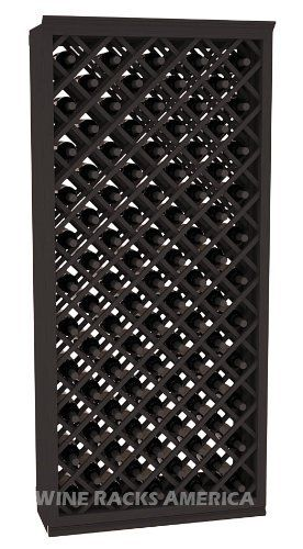 """Five Star Series: 95 Bottle Individual Diamond Wine Bin Wine Cellar Rack Storage Kit in Pine with Black Stain by Wine Racks America®. $700.25. Money Back Guarantee + Lifetime Warranty. Made from eco-friendly wood sources in sustainable forests. Industry 1-1/2"""" toe-kick keeps your wine off the floor. Some assembly required. Bottle capacity: 95 bottles (750ml). 11/16"""" wood thickness.. An Individual Diamond Wine Bin from the Five Star Series provides great airflow across..."""