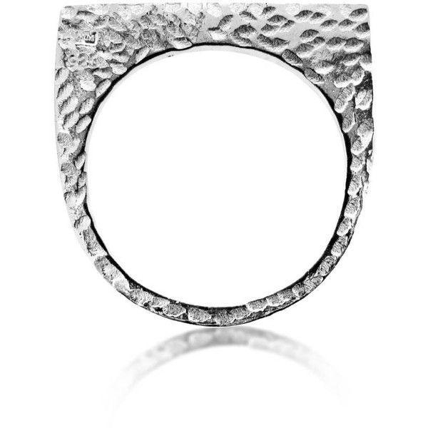 Maya Magal London - Silver Textured Single Plate Ring (£59) ❤ liked on Polyvore featuring jewelry, rings, silver jewellery, textured ring, silver jewelry and silver rings