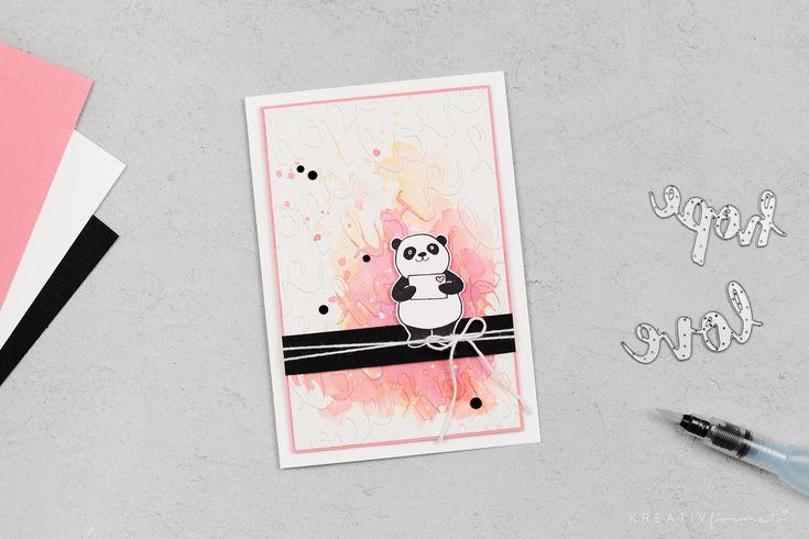 Eine kolorierte Karte, welche mit dem Stempelset Party-Pandas (Sale-a-Bration Stempelset) und den Thinlits Sunshine Whishes von Stampin' Up! gebastelt wurde.   kreativ-format.de